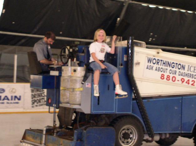 Driving a Zamboni he once owned!