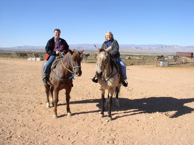Riding horses with Mrs. Kvitko in Nevada