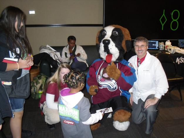 Team Smile in Denver with Bernie, mascot of Colorado Avalanche