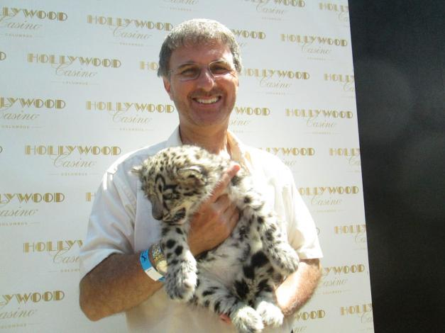 With a baby tiger from the Columbus Zoo/Aquarium
